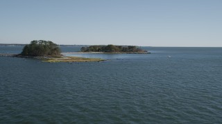 AX91_055 - 4K aerial stock footage video of approaching Great Captain Island, Greenwich, Connecticut
