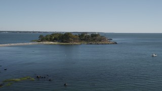 AX91_056 - 4K stock footage aerial video of approaching lighthouse on Great Captain Island, Greenwich, Connecticut