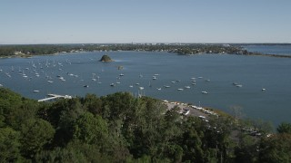 AX91_063 - 4K stock footage aerial video fly over Greenwich Point Park, approach Greenwich Cove, Greenwich, Connecticut