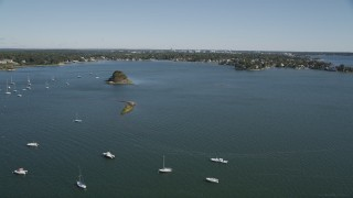 AX91_064 - 4K stock footage aerial video of flying over sailboats in Greenwich Cove, Greenwich, Connecticut