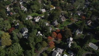 AX91_068 - 4K stock footage aerial video of flying over suburban neighborhoods, Greenwich, Connecticut