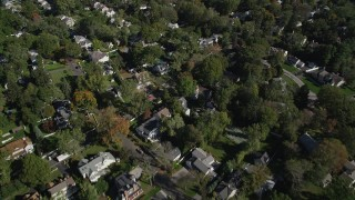 AX91_069 - 4K stock footage aerial video of flying over suburban neighborhoods, Greenwich, Connecticut