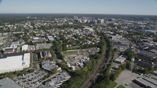 AX91_070 - 4K stock footage aerial video of flying over Innis Arden Golf Club, revealing Downtown Stamford, Connecticut