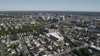 AX91_072 - 4K stock footage aerial video of approaching Downtown Stamford, Connecticut