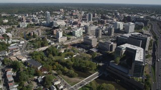 AX91_074 - 4K stock footage aerial video of approaching office buildings in Downtown Stamford, Connecticut