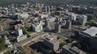 AX91_075 - 4K stock footage aerial video of flying over office buildings in Downtown Stamford, Connecticut