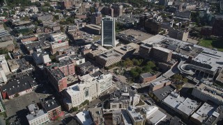 AX91_076 - 4K stock footage aerial video of approaching an office building in Downtown Stamford, Connecticut