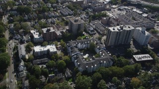AX91_079 - 4K stock footage aerial video of flying by apartment buildings, suburban homes, Stamford, Connecticut