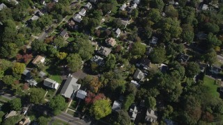 AX91_081 - 4K stock footage aerial video of a bird's eye view of suburban homes in residential neighborhoods, Stamford, Connecticut