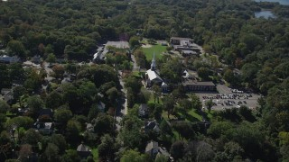 AX91_084 - 4K stock footage aerial video of flying by Noroton Presbyterian Church, Darien, Connecticut