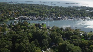 AX91_090 - 4K stock footage aerial video of approaching waterfront property on Five Mile River, Norwalk, Connecticut