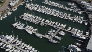 AX91_099 - 4K stock footage aerial video of flying over sailboats at Norwalk Cove Marina, Norwalk, Connecticut