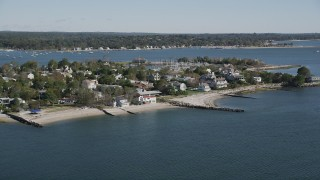 AX91_101 - 4K stock footage aerial video of ocean and beachfront homes in Westport, Connecticut