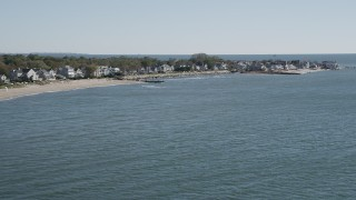 AX91_108 - 4K stock footage aerial video of approaching beachfront homes in Fairfield, Connecticut