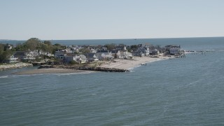 AX91_109 - 4K stock footage aerial video of flying by oceanfront and beachfront homes, Fairfield, Connecticut