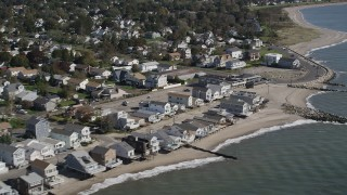 AX91_121 - 4K stock footage aerial video of beachfront homes in Stratford, Connecticut