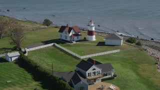 AX91_123 - 4K stock footage aerial video of approaching Stratford Point Light in Stratford, Connecticut
