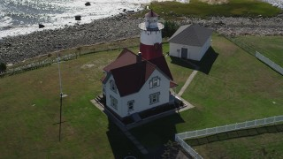 AX91_124 - 4K stock footage aerial video of orbiting the Stratford Point Light in Stratford, Connecticut