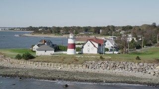 AX91_125 - 4K stock footage aerial video of an orbit of the Stratford Point Light in Stratford, Connecticut