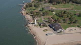 AX91_131 - 4K stock footage aerial video of approaching Lighthouse Point in New Haven, Connecticut