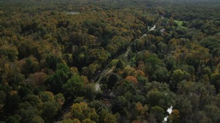 AX91_179 - 4K stock footage aerial video of flying over forest road and rural homes in autumn, Guilford, Connecticut