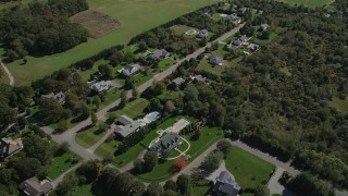 AX91_196 - 4K stock footage aerial video of flying over upscale homes in Southold, New York