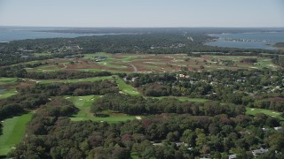 AX91_207 - 4K stock footage aerial video of flying by Shinnecock Hills Golf Course, Southampton, New York