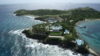 AX96_158 - 5k stock footage stock footage aerial video orbit mansion on Little St James Island, St Thomas, Virgin Islands