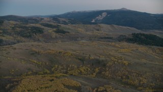 CAP_002_014 - HD stock footage aerial video flyby sparse autumn trees on hills in Jackson Hole, Wyoming, twilight