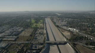 CAP_003_003 - HD stock footage aerial video of following the LA River past Lynwood, California