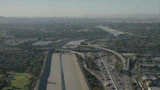 CAP_003_004 - HD stock footage aerial video of freeway interchange and LA River in Lynwood, California