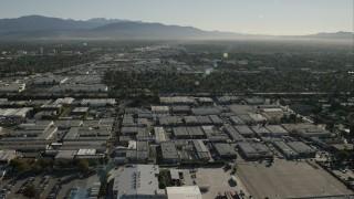 CAP_004_002 - HD stock footage aerial video of flying over warehouse buildings in Van Nuys, California