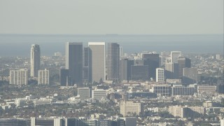 CAP_004_011 - HD stock footage aerial video of zooming in on skyscrapers in Century City, California