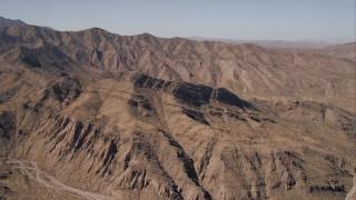 CAP_005_018 - HD stock footage aerial video of arid desert mountain ridges, Mojave Desert, California