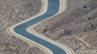 CAP_006_009 - HD stock footage aerial video of tilting to a small section of the California Aqueduct in Palmdale, California