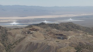 CAP_006_030 - HD stock footage aerial video of the three solar arrays at the Ivanpah Solar Electric Generating System in California