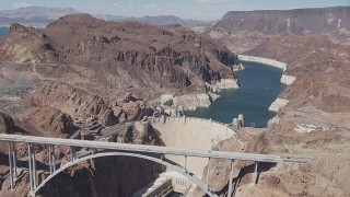 CAP_008_001 - HD stock footage aerial video of the Hoover Dam Bypass bridge and the Hoover Dam, Nevada