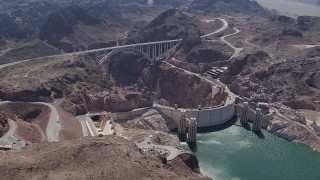 CAP_008_008 - HD stock footage aerial video of Kingman Wash Access Road, Hoover Dam, and the bypass bridge, Nevada