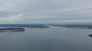 CAP_009_004 - HD stock footage aerial video of McNeil and Fox Island in Puget Sound, Washington