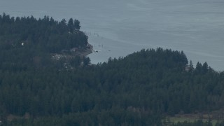 CAP_009_010 - HD stock footage aerial video track an airplane flying over evergreen trees on the shore of Puget Sound, Washington