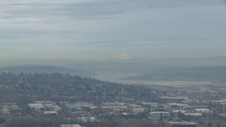 CAP_009_036 - HD stock footage aerial video of Three Fingers South peak seen from Renton Airport, Washington