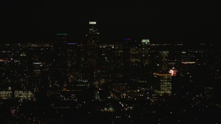 CAP_010_013 - HD stock footage aerial video flyby the Downtown Los Angeles city skyline at night, California