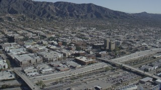 CAP_012_003 - HD stock footage aerial video of Burbank Town Center, office buildings and hotel in Burbank, California