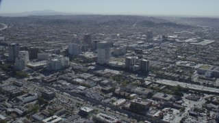 CAP_012_007 - HD stock footage aerial video of tall office buildings around the 134 freeway in Glendale, California