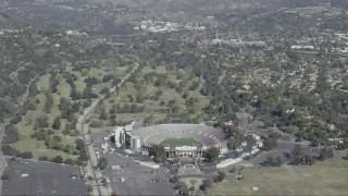 CAP_012_013 - HD stock footage aerial video of Rose Bowl Stadium in Pasadena, California
