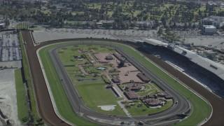 CAP_012_016 - HD stock footage aerial video of the Santa Anita Park horse racing track in Arcadia, California