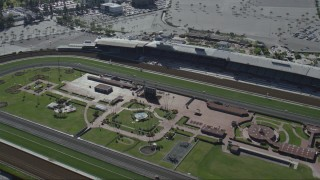 CAP_012_017 - HD stock footage aerial video flyby the Santa Anita Park horse racing track in Arcadia, California