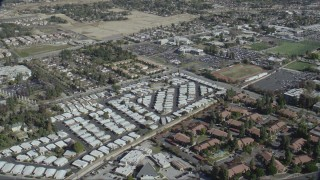 CAP_012_020 - HD stock footage aerial video flyby a mobile home park and apartment buildings in Asuza, California