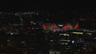 CAP_013_001 - HD stock footage aerial video of Mercedes Benz Stadium at night in Atlanta, Georgia