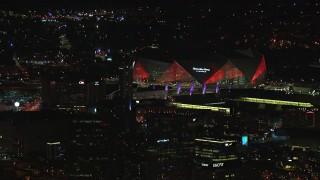 CAP_013_002 - HD stock footage aerial video of orbiting Mercedes Benz Stadium at night in Atlanta, Georgia